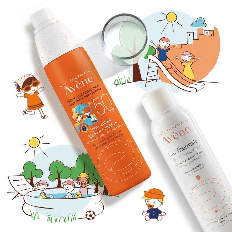 Набор «Детский солнцезащитный спрей SPF 50+ для чувствительной кожи + Термальная вода Авен успокаивающая»